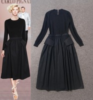 Best Quality!New Fashion Runway 2014 Autumn Winter Dress Women Elastic Knitted Patchwork Long Sleeve Knitted Casual Long Dress