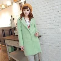 2014 Design New Winter Trench Coat Women Grey Medium Long Warm Wool Jacket European Fashion Overcoat