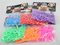 2014 Separation Tie Dye Diy Make Rubber Band Bracelet for Children Knit 6 Colors 200pcs/pack LM-007
