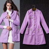 New arrival 2014 winter ladies elegant small elegant luxury beading slim wool overcoat outerwear