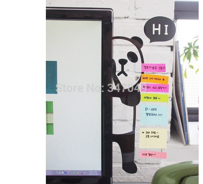 (3 Style) Computer Monitors Side Acrylic Panel Message Board , Animal Shape Memo Pads Sticky Board Creative Gadget Free Shipping(China (Mainland))