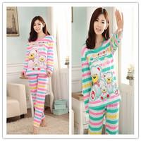Free Shipping New 2014 Fashion Women Pajamas Cartoon Panda Printed Stripped Pyjamas Women Spring Autumn Casual Pijama Feminino