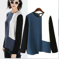 LT41 New Fashion Ladies' elegant color blocking blouses vintage stylish O neck long sleeve zipper shirts casual slim brand tops