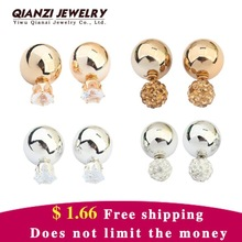 2015 Hot Crystal Stud Earrings Jewelry 925 Silver Lovely Women Gold Ball Fashion Shinning Double Side Color Shining Big Pearl