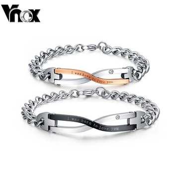 Бренд дизайн пара браслеты для женщины мужчины из нержавеющей стали шарм ювелирные ...