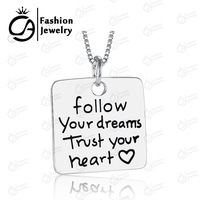 2015 Fashion Follow Your Dream Trust Your Heart Silver Pendant Necklace Women Girls Gift Box Chain Statement Necklace Jewelry