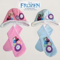 2015New 2PCS   frozen princess anna elsa scarf hat set children girl scarf hat set blue pink winter warm kids hat scarf set