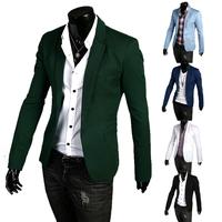 Spring 2014 Mens Suit Black Blazers Jacket Solid Slim Single Button Men Blazer Designs Brand Blazers Suits For Men 3XL Plus Size