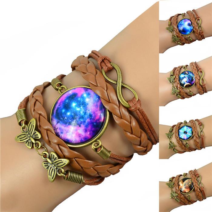 fashion Leather Bracelet Vintage Wrap charm Bracelets for Women Bracelets  Bangles Butterfly cuff bracelet(China (Mainland))