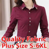 S-6XL Plus Size Shirt Qaulity Women Blouse Shirt Plaid Roupas Femininas Cardigan Brand Clothing Women Tops Casual Blouse Blusas
