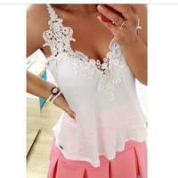 New blusas femininas 2014 fashion V neck sleeveless lace chiffon blouse women sexy white blusas de renda free shipping