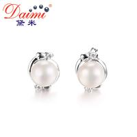 DAIMI Pearl Ethnic Earrings Real 7-8 mm / 8-9 mm White Pearl Earrings Flower Earring For Female Birthday Gift
