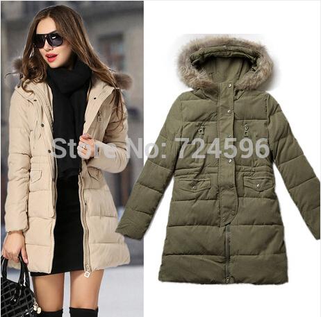 2014 New Winter Jacket Women Long Coat Warm Jackets Wool Parka women's Fur Cotton Duck