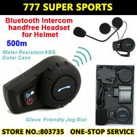 Hot Sales 500 Meters Motorcycle Helmet Intercom Headset Handsfree Bluetooth Intercom Sports Helmet Kits FDC-01 Free Shipping