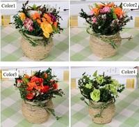 hot sale mix colors Home Decorative silk grass, artificial flowers, plastic flowers Rope rose with flower pots 2pcs/set