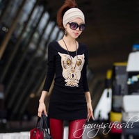 Free Shipping 2015 new fashion plus size women clothing t shirt punk sexy tops tee clothes T-shirt Stereo owl pattern black