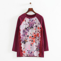 2014 girl casual lace combined knitting red lace appliques floral prints pullovers o-neck long sleeves knitwear 258120