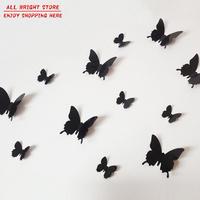 12Pcs/Pack Vinyl 3D Removable Decorative Black Butterflies Wall Stciker For Kids Room Christmas 3D Art Wall Decals Home Decor