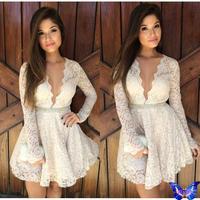 2014 New Women Crochet Lace Dress White Beautiful Vestido Branco Festa Sexy Club Wear Deep V-Neck Long Sleeve Peplum Dresses