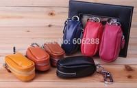 Wholesale 2014 New Arrival 100% Genuine Cowide Leather Purse Car Key Wallets Fashion Women Housekeeper Holders car key holder
