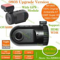 100% Original Mini 0803 upgrade version MF0805 Super HD Video Recorder Car Camera DVR AmbarellaA7 2560P 1296P OV4689 SOS+GPS/8GB