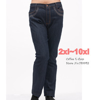 Plus size women jeans trousers autumn female oversized elastic pants mazarine Dark deep Blue xxl 2xl 3xl 4 5 6 7 8 9 10xl