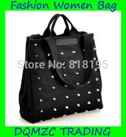 2014 new arrivalm fashion canvas women handbag black  hand&shoulder application mzc-wb1002 Free shipping!