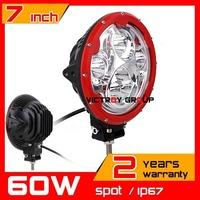 7inch 60W LED Work Light Tractor Truck 12v 24v IP67 SPOT Offroad Fog Drive light LED Worklight External Light seckill 55w 75w
