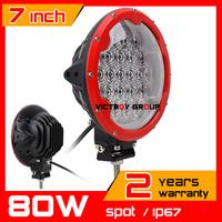 10inch 80W Red LED Work Light Tractor Truck 12v 24v SPOT Offroad Fog Drive light LED Worklight External Light seckill 55w 75w