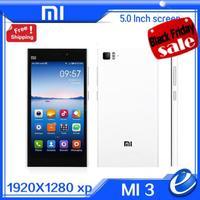 Original Xiaomi Mi3 M3 Quad Core2GB RAM Snapdragan 800 3G WCDMA Cell Phones Android Smart Mobile Phone 13MP Dual Camera