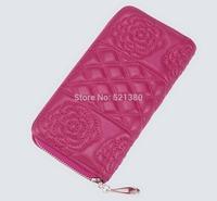 Multi Purpose Large Capacity Soft Zipper Leather Plaid Floral Wallet Purse Money Case Pouch Clutch Bag Cell Phone Bag Case