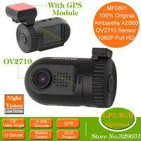 Original Mini 0801 Ambarella Black Box Car DVR with A2S60 OV2710 1080P SOS LDWS Optional GPS/8GB Backup