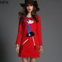 Women Fashion Elegant Cartoon Embroidery Long Sleeve Bodycon Dress,Ladies Brand 2014 Autumn Winter New European Style D1259