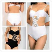 2015 Women Push Up Swimwear Cut Out High Waist Swimsuit One Piece bathing suit Black monokini Plus Size S M L XL XXL
