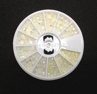 3 Sizes Rainbow White Foil Beads Nail Art Acrylic UV Gel Tips DIY Wheel 4mm 3mm 3mm