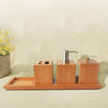 Badasa 4 pcs Natural Bamboo Collection Bathroom Accessories Set Househoder  Necessary  Convenient(China (Mainland))
