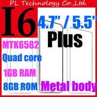 "In Stock i6 i6+ phone 6 1GB RAM 8GB ROM I 6 plus phones 4.7"" 5.5"" ips HD screen Metal body MTK6582 Quad core 3G cell phone +case"