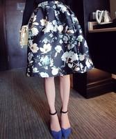 2014 autumn winter new women's fashion retro flowers print elegant skirts vintage ball gown midi skirt saias femininas