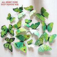 New 12Pcs/Lot Vinyl 3D Green Butterflies For Kids Wall Art Decal Removable Home Decoration DIY Beautiful Wall Stciker Home Decor