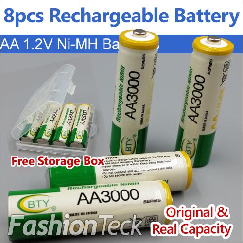 Original Real Capacity 8 pcs/lot Rechargeable Battery AA 1.2V 3000mAh * 8 pcs Ni MH Free Batteries Storage Card Packing(China (Mainland))