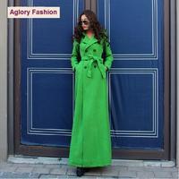 Top Grade New European High Street Fashion Women Double Breasted Adjustable Waist X-Long Warm Wool Blends Outdoor Coat Plus XXL