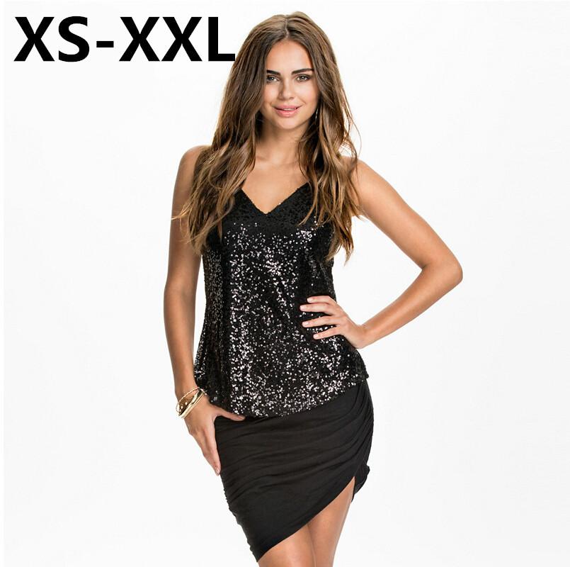 Black Sequin Top Tops Sexy Silver Sequins