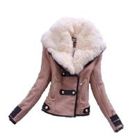 6030 2014 new arrival women coat Fashion Short design fur collar Personality Button Zipper Pockets jacket Lady woollen coat