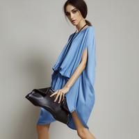 Women's brand plus size bat sleeve round neck elastic waist chiffon dress 2014 summer fashion Asymmetry loose dress