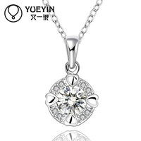 Min Mix Order 9$! Exquisite Heart CZ Crystal Round Pendant Necklace 925 Silver Plated Women Jewelry