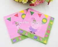 Food-grade Peppa Pig Paper Napkin Porco Guardanapo Tissue Cartoon Napkin Para Festas Party Decoration Paper 33cm*33cm 1pack/lot
