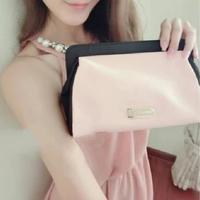 H2026 Cute Sweet Candy Pink Black BICOLOR SATIN Case Cosmetic MakeUp Organizer Storage Bag  Drop shipping Free shipping