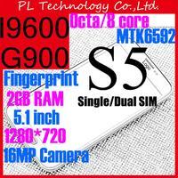 "Octa Core Original 1-1 S5 Phone MTK6592 S5 i9600 phone RAM 2GB 1.7Ghz Android4.4 16MP 5.1"" 1920*1080 Fingerprint Waterproof Case"