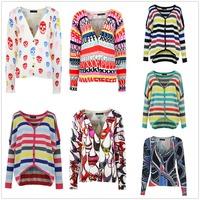 2014 New Korean Design Printed Fashion Tops Shirt Long Sleeve Knitted Cardigan Sweater Women Casual Wear k5200/k5312