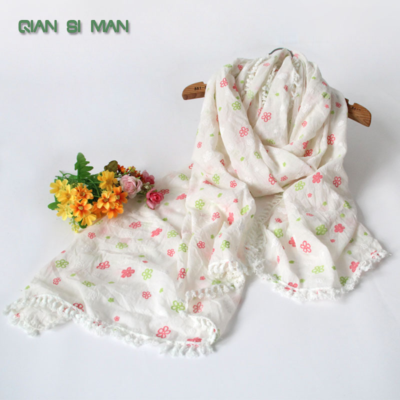 New Fashion Winter Hot sale Small Flower Printed scarf 5 colour 100% cotton scarves shawl white blue green Hot sale(China (Mainland))